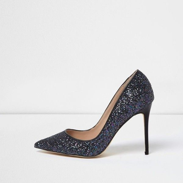 River Island Navy glitter court heels (£57) ❤ liked on Polyvore featuring  shoes