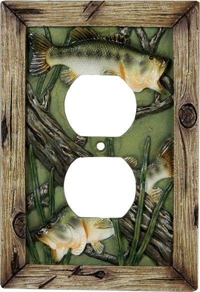 Bass Fish Receptacle Switch Plate Cover He already has the light – Fishing Bedroom Decor