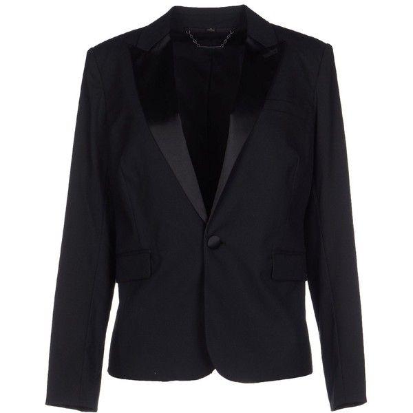 Rachel Zoe Blazer ($270) ❤ liked on Polyvore featuring outerwear, jackets, blazers, black, rachel zoe jacket, rachel zoe blazer, satin jacket, black jacket and black blazer