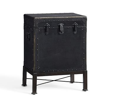 Superbe Ludlow Trunk With Stand Side Table, Black