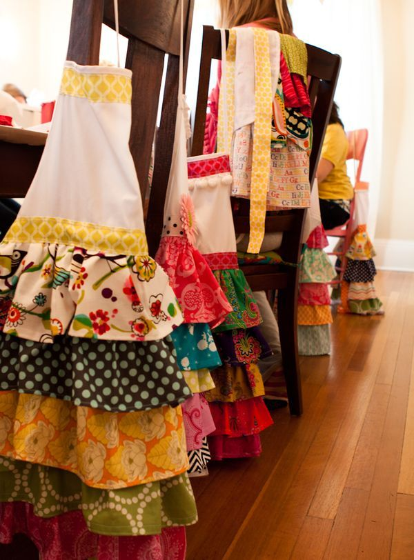 Ruffled Aprons made at Whatever Craft weekend!