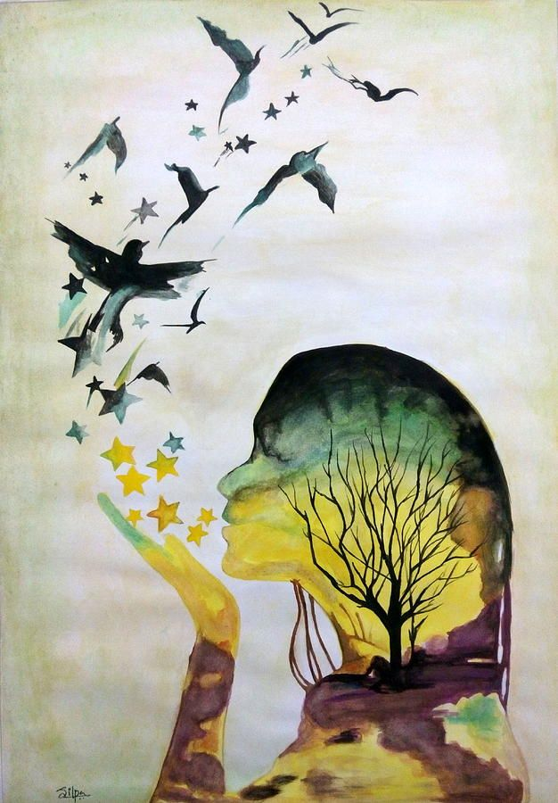 Mother Nature By Silpa Saseendran Nature Watercolor Nature Art Painting Nature Paintings