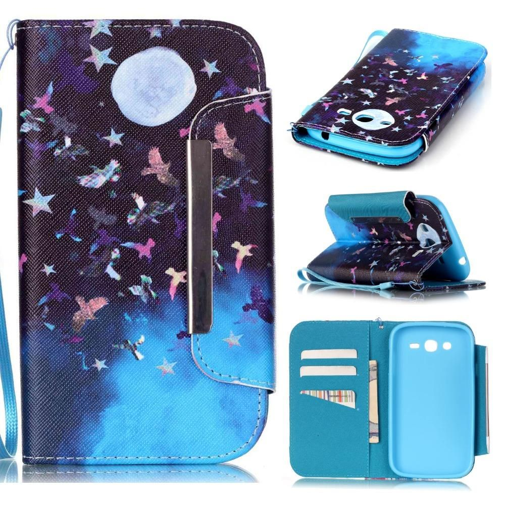 Big Buckle Leather Stand Wallet Phone Cover Flip Case Skin For Samsung Galaxy Grand Neo Plus I9060