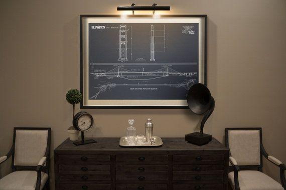 Golden Gate Bridge blueprint  Vintage San Francisco Golden Gate - new blueprint program online