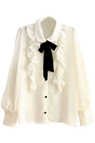 e47aef81cb4 Ruffled Contrast Necktie Blouse - OASAP.com in 2019 | Work | Ruffle ...