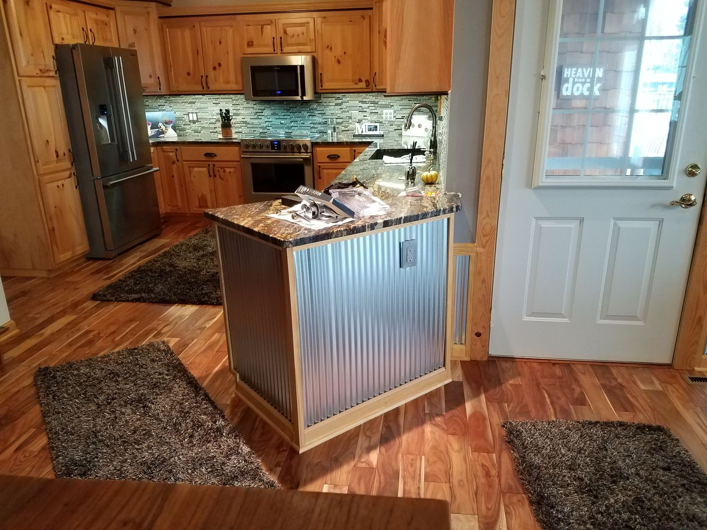 - Natural Rustic Hickory Cabinets With Oak Accent Moulding Stained