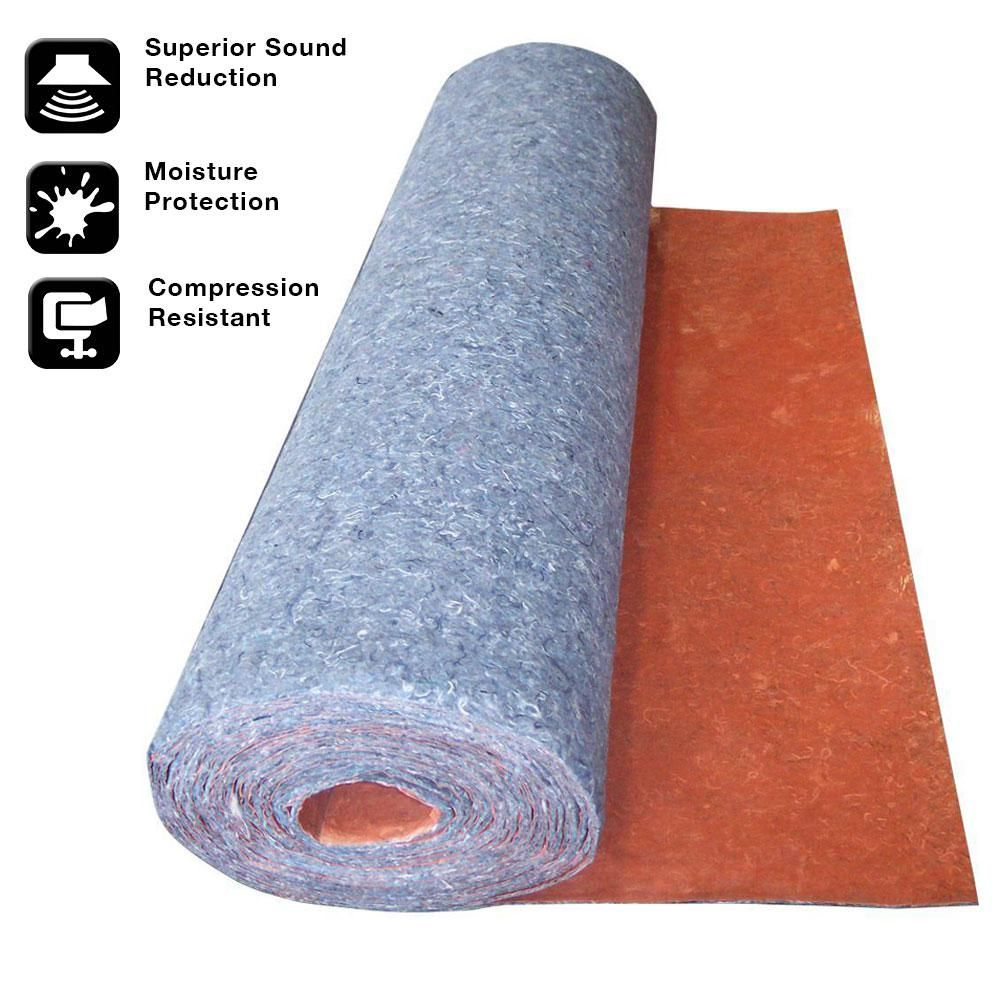 Trafficmaster 100 Sq Ft 3 Ft X 33 34 Ft X 1 8 In Acoustical Underlayment With Attached Vapor Barrier For Laminate Flooring Qw100n1hd The Home Depot Underlayment Laminate Flooring Laying Laminate Flooring