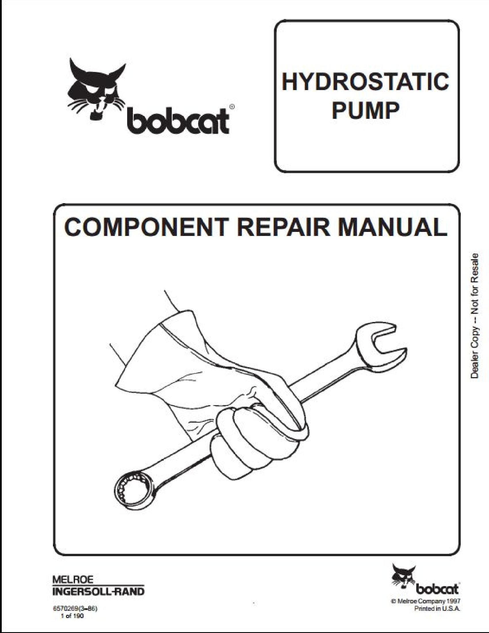 Bobcat 641 Skid Steer Loader Manual In 2020