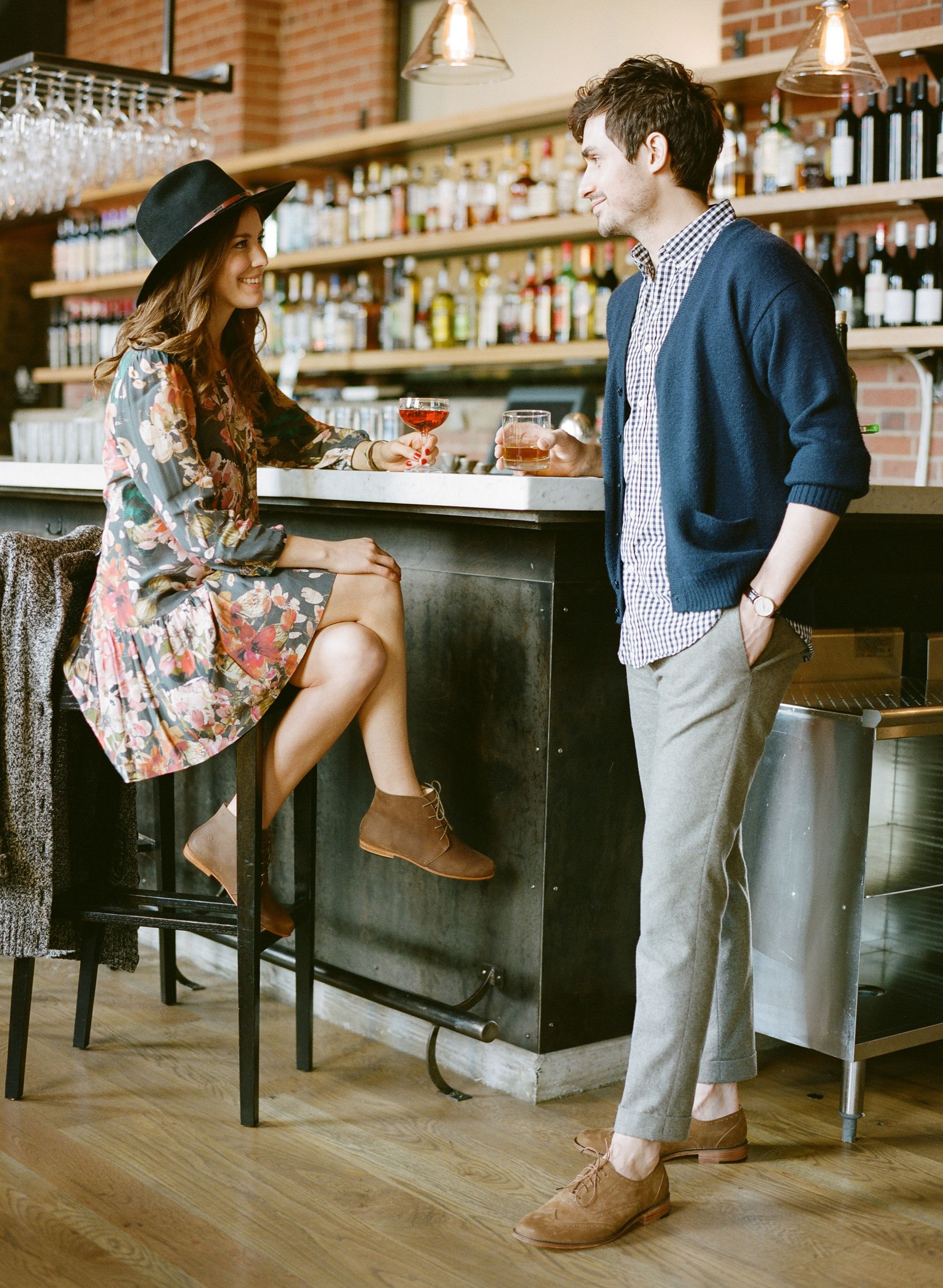 Couple Outfit Inspiration - Chic Down Town Engagement Session -