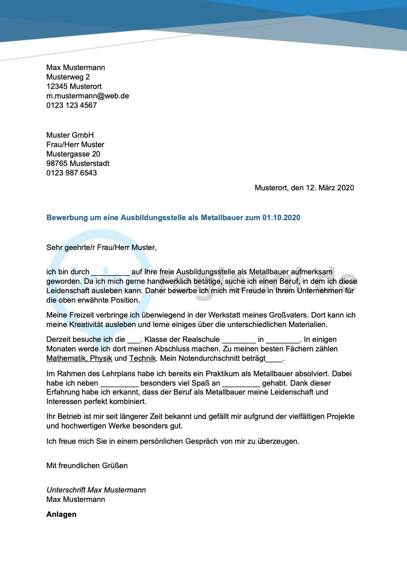 Bewerbungsanschreiben Metallbauer In 2020 Bewerbung Anschreiben Bewerbung Anschreiben