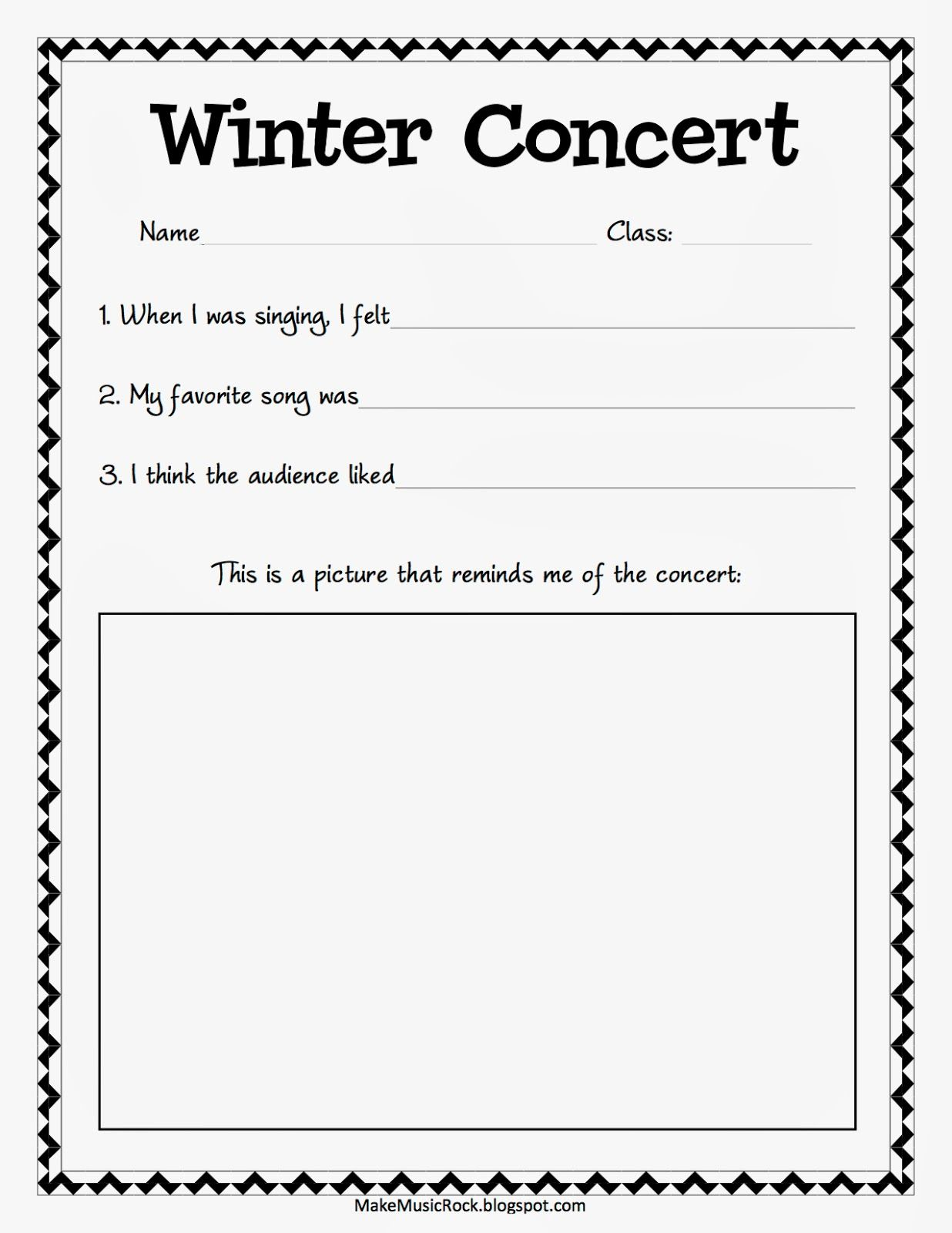 Winter Concert Reflections For K Elementary Music Worksheets