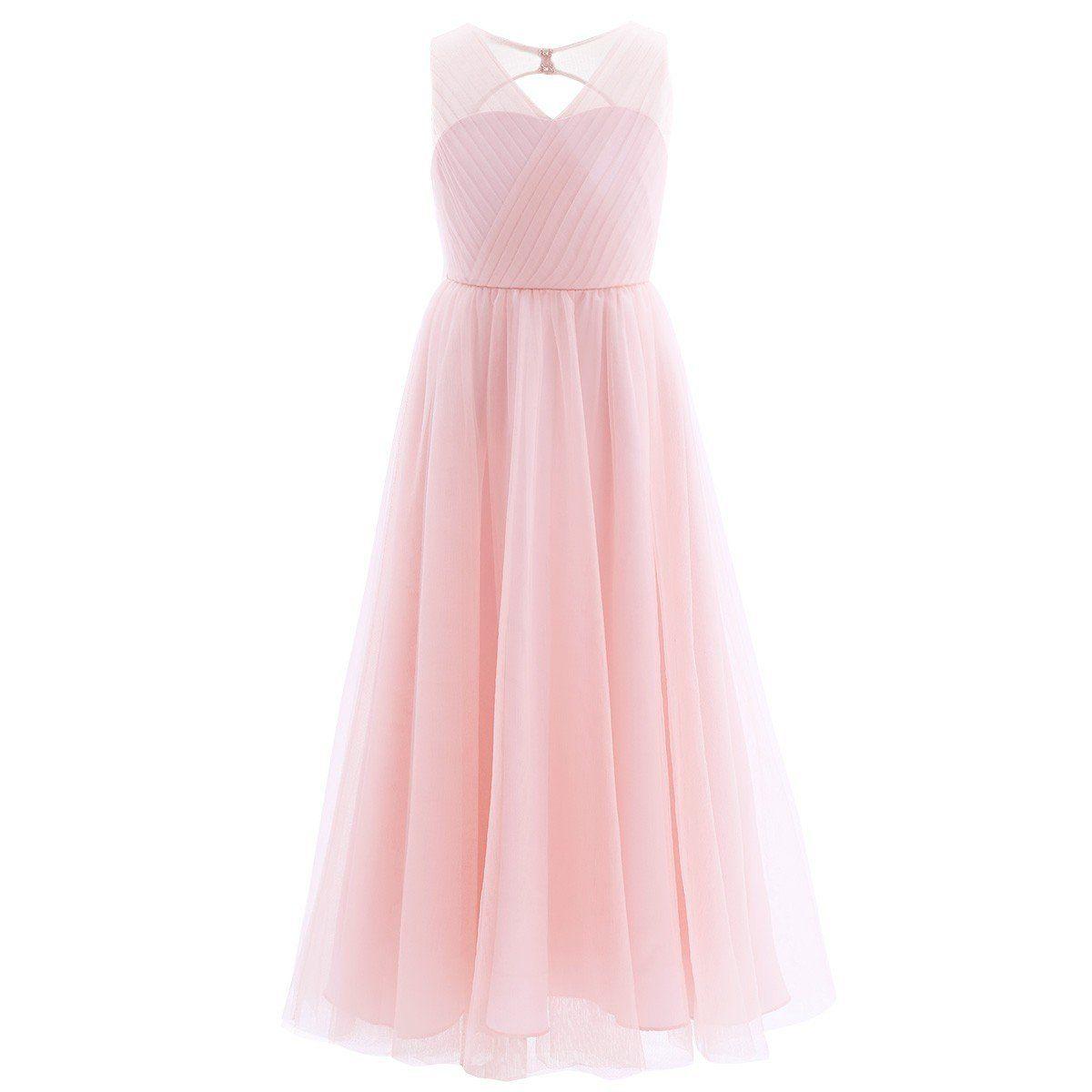 375a64376 YiZYiF Kids Big Girls Backless Mesh Satin Summer Princess Bridesmaid Wedding  Dance Prom Party Dress: