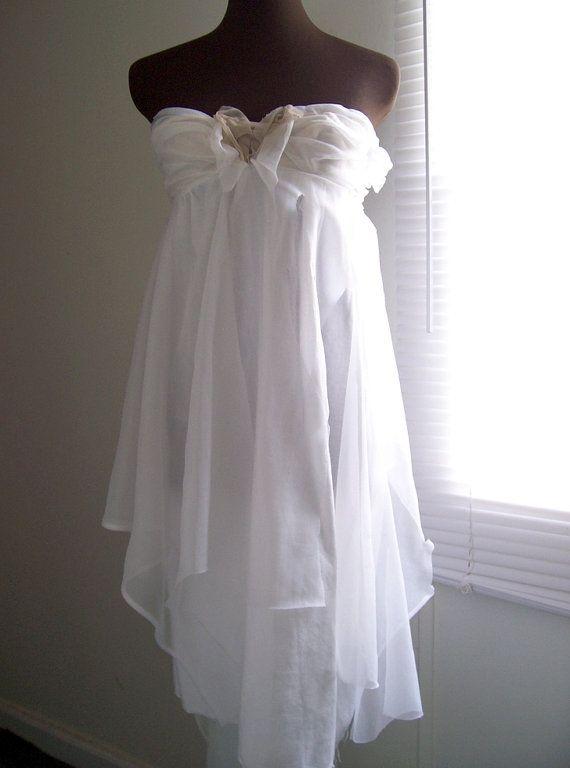 Beach Wedding Dress!! Strapless One of a Kind Wispy Empire by colorada, $500.00