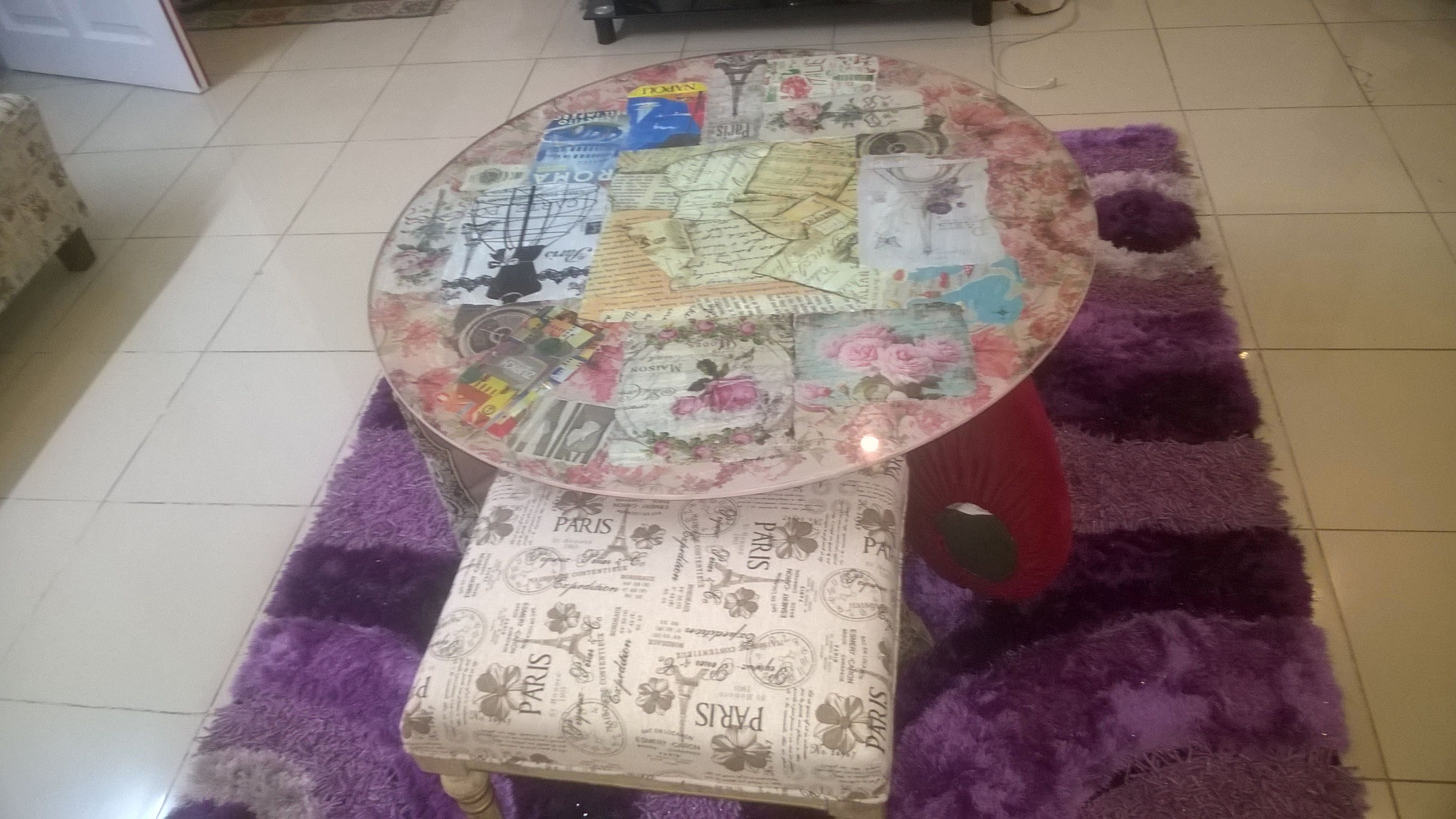 Decoupage glass top center table. Diy😊 (With images ...