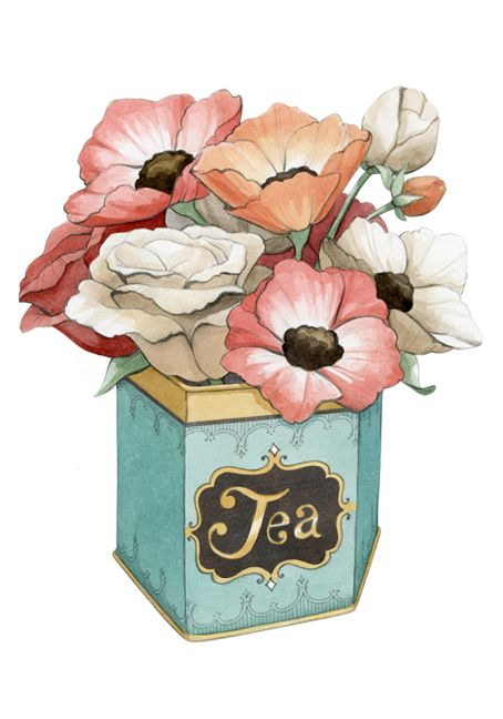 Vintage Tea Tin With Poppies - Forties - Watercolour Illustration by www.aliciasinfinity.com