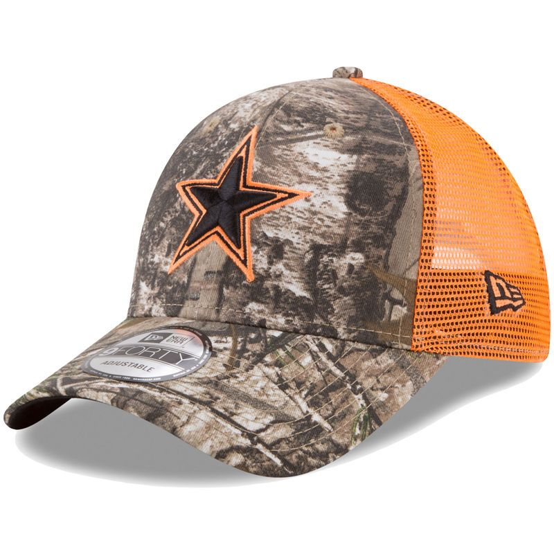 Dallas Cowboys New Era Youth Trucker 9FORTY Adjustable Snapback Hat - Realtree  Camo Orange f96452879