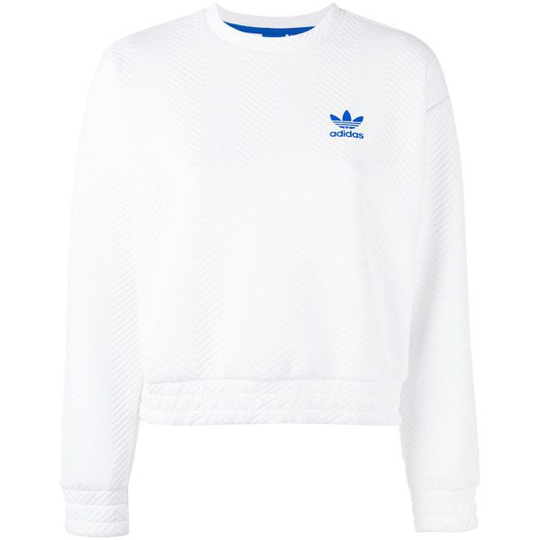 Adidas Textured Logo Sweatshirt ($91) ❤ liked on Polyvore featuring tops, hoodies, sweatshirts, textured crop top, cropped tops, round neck sweatshirt, round neck crop top and long sleeve sweatshirts