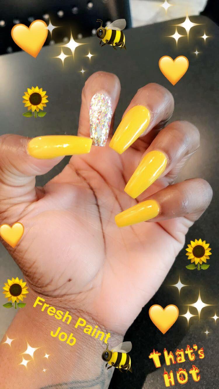 Yellow Coffin Nails Acrylic Nails Yellow Yellow Nails Yellow Nails Design