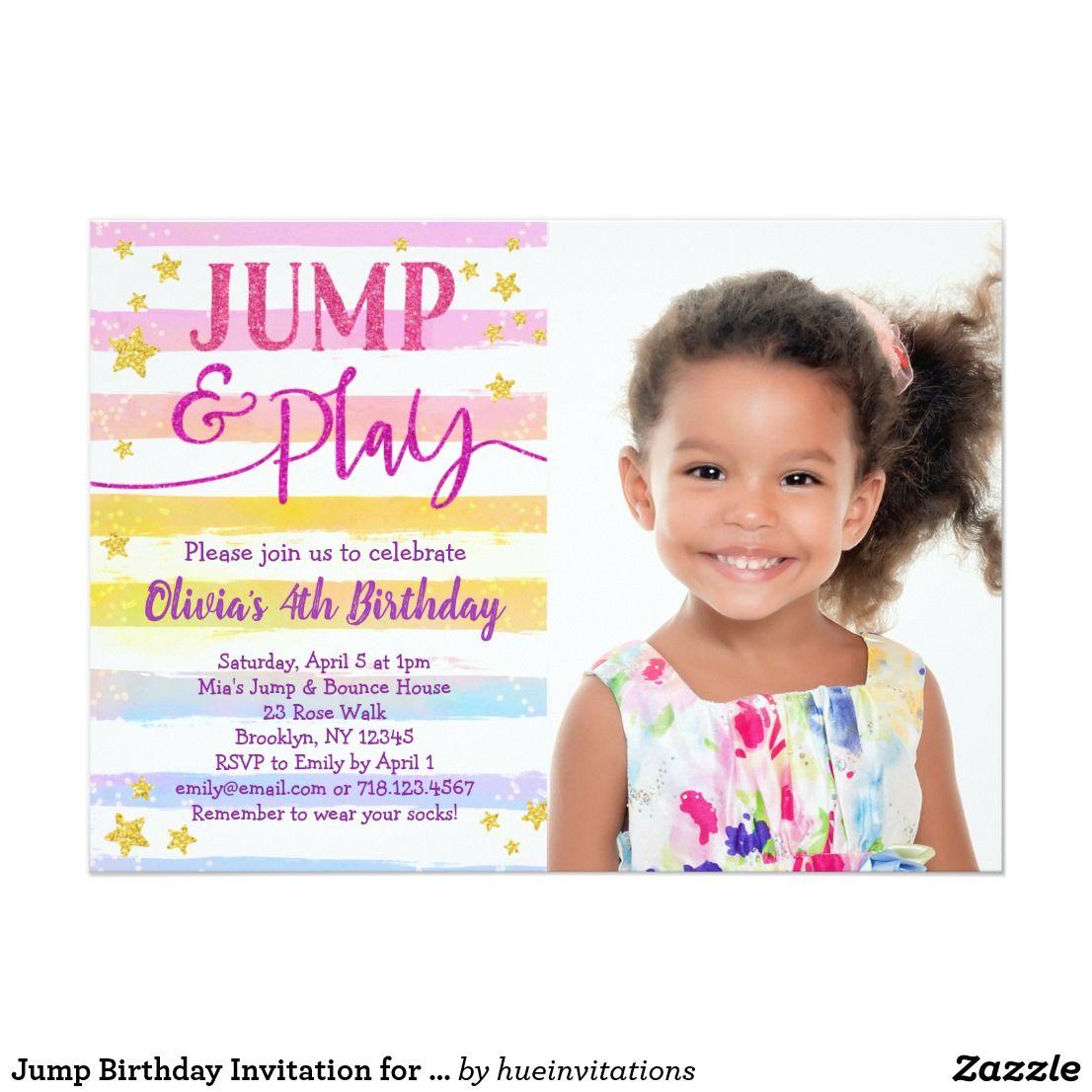 Jump Birthday Invitation for Girls Bounce Party | Hue Invitations ...