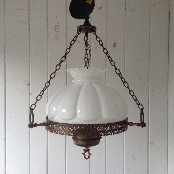 Large Antique Milk Glass Hanging Light Fixture Hurricane Hanging