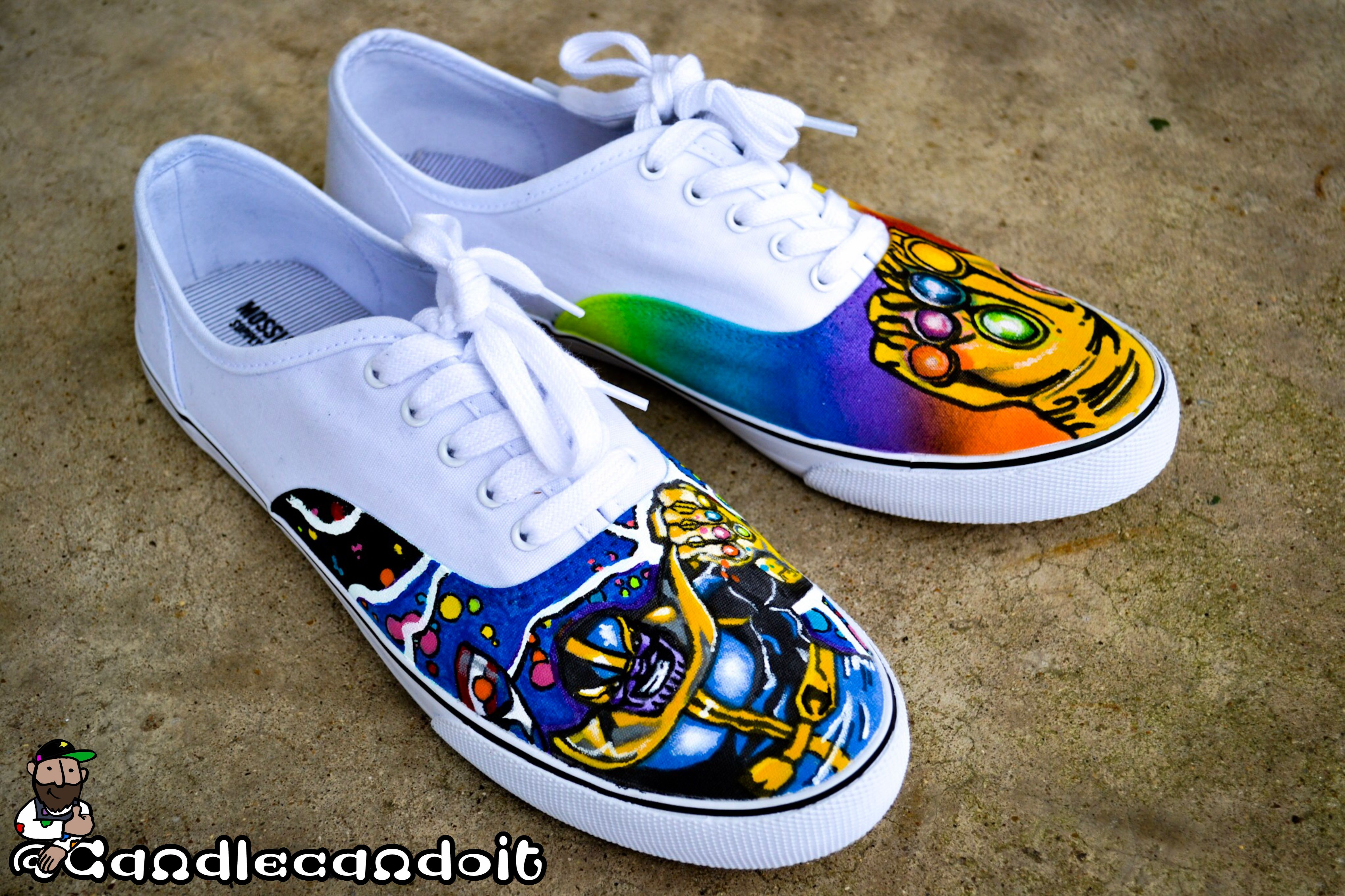 5b70a3345b1f36 Thanos  Infinity Gauntlet inspired shoes Hand painted ...