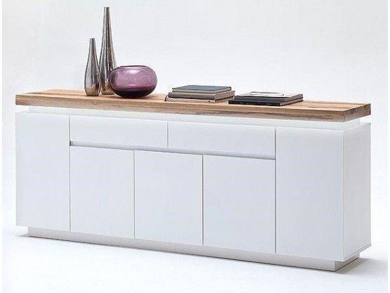 buffet design blanc mat bois 5 portes et 2 tiroirs led multicolore romina 200 cm buffet. Black Bedroom Furniture Sets. Home Design Ideas