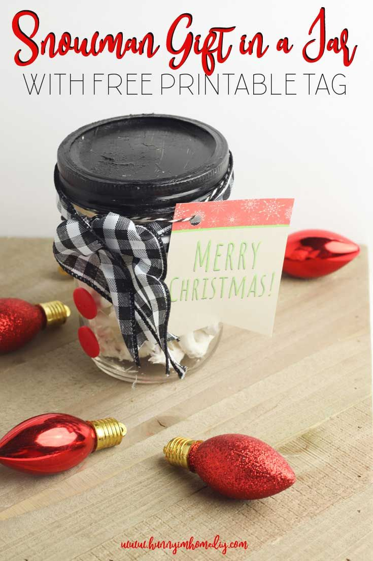 DIY Snowman Christmas Gift in a Mason Jar | Hunny I'm Home