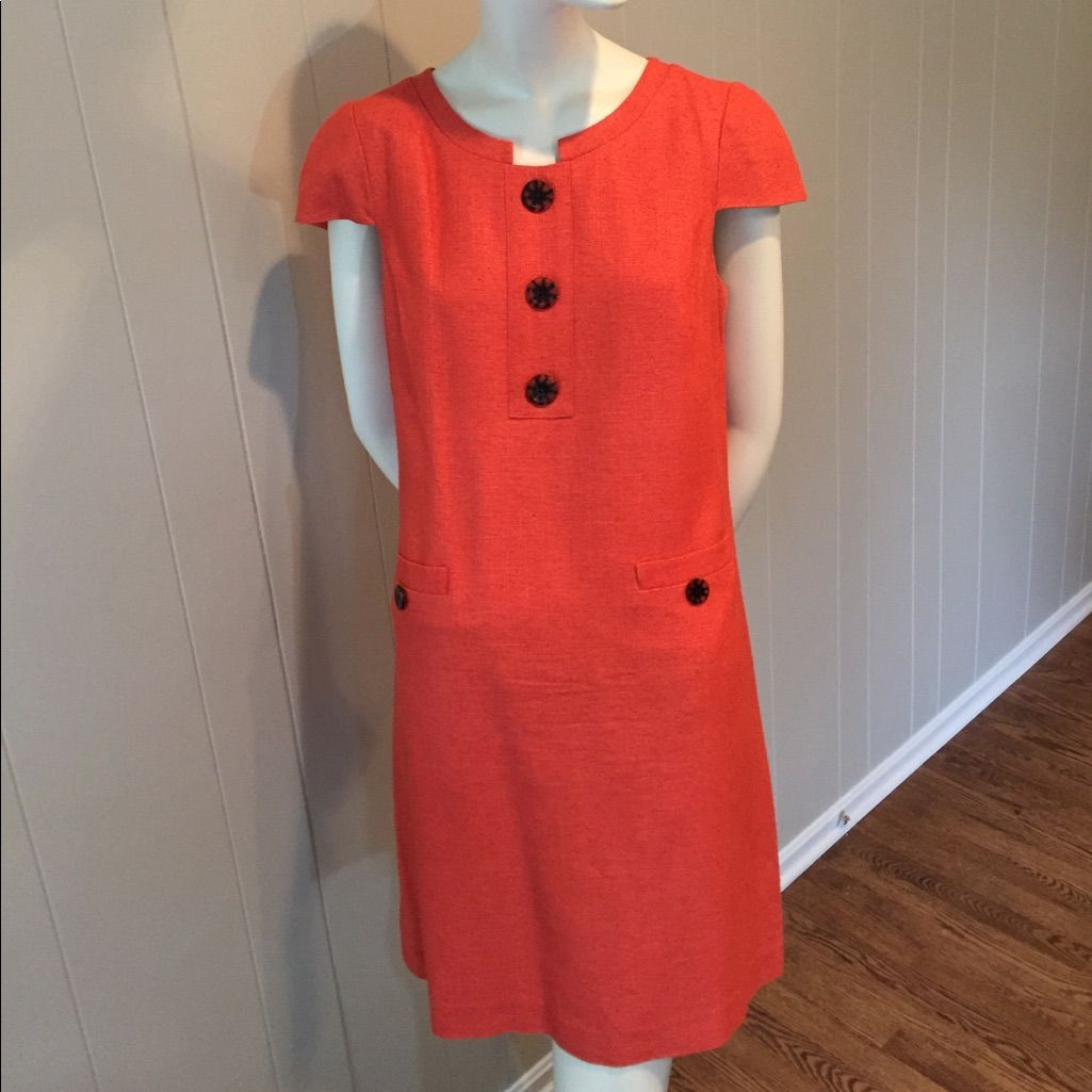 15475995512 Linen Lined Burnt Orange Dress Size M.