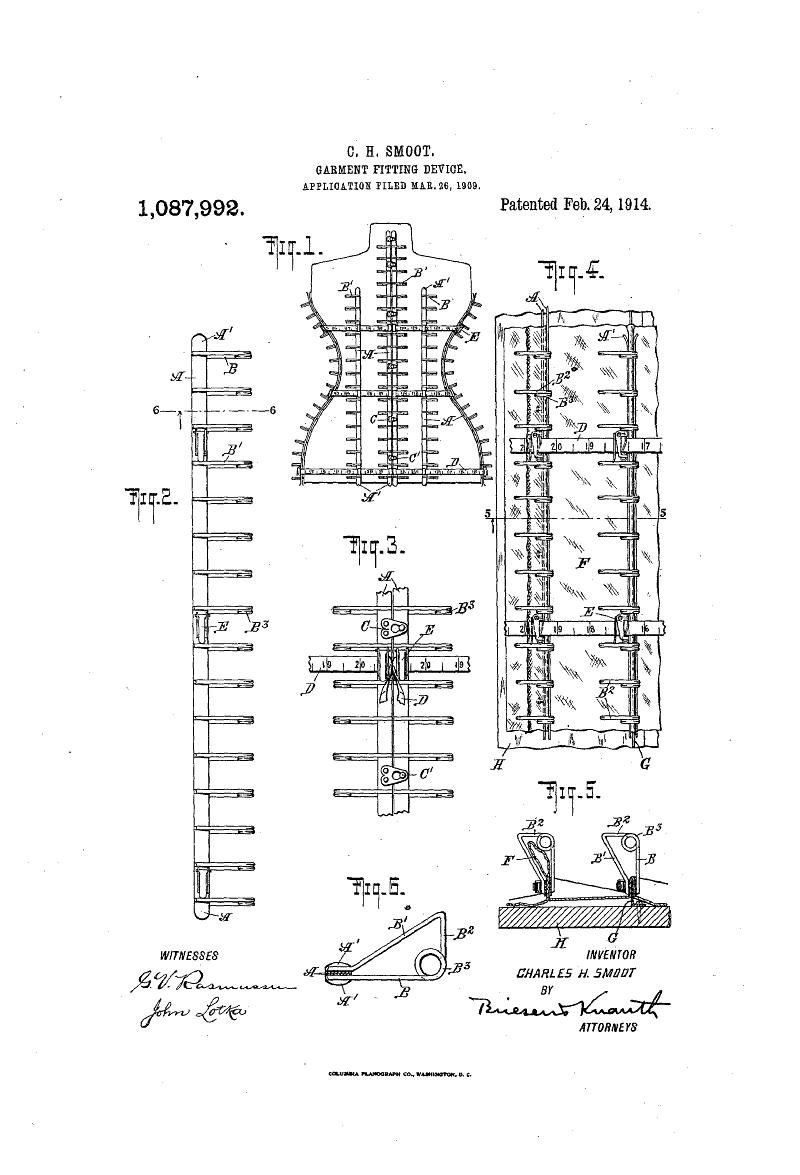 1914 Patent US1087992 -  Garment Fitting Device - Google Patents