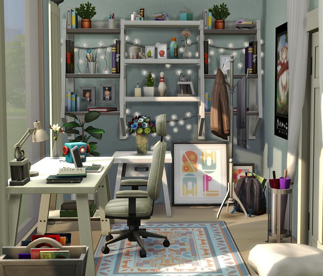A Office Made With Some Of The New Patch Items Sims 4 House Design Sims House Sims 4 Bedroom
