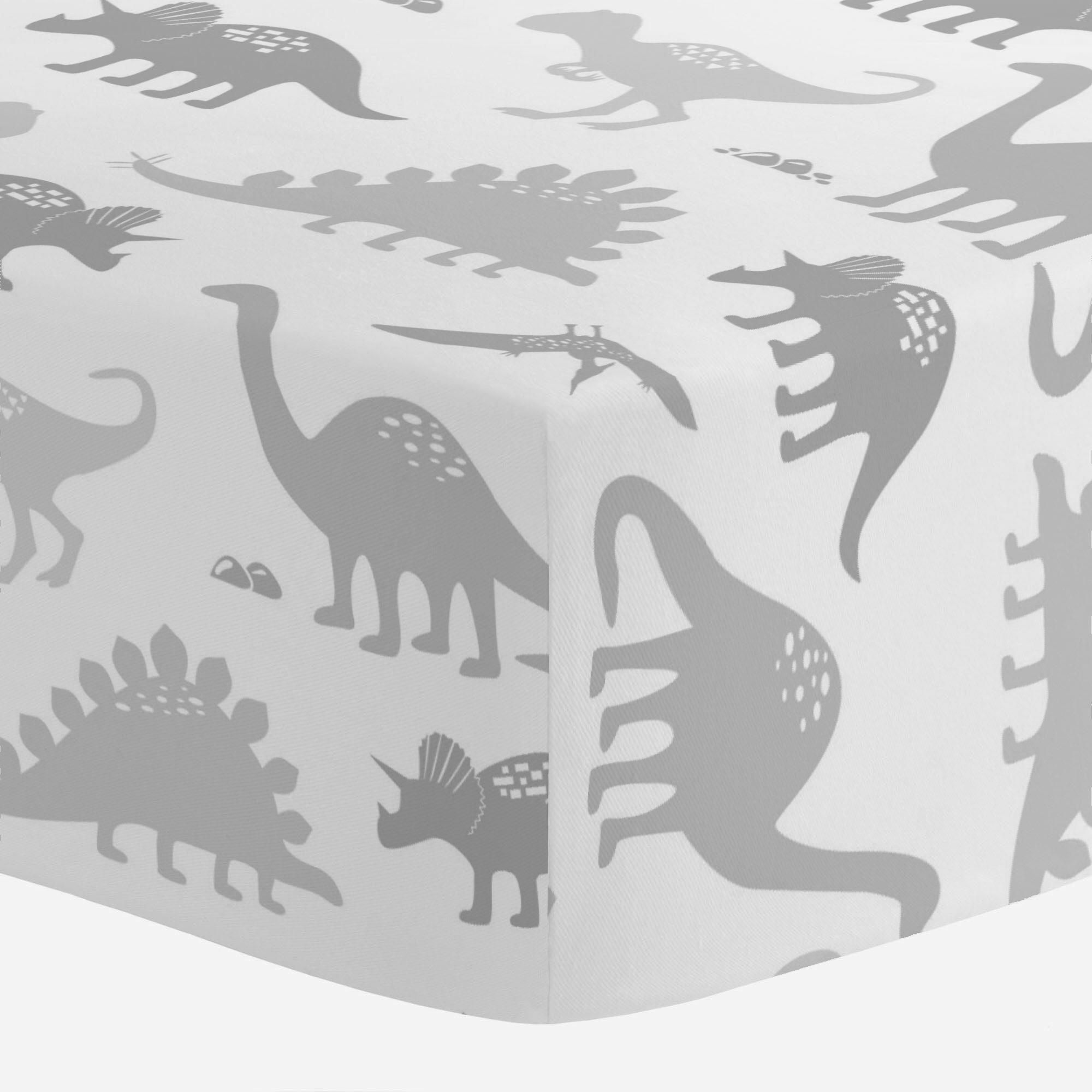 Crib Fitted Sheet in and Gray Dinosaurs by Carousel Designs.