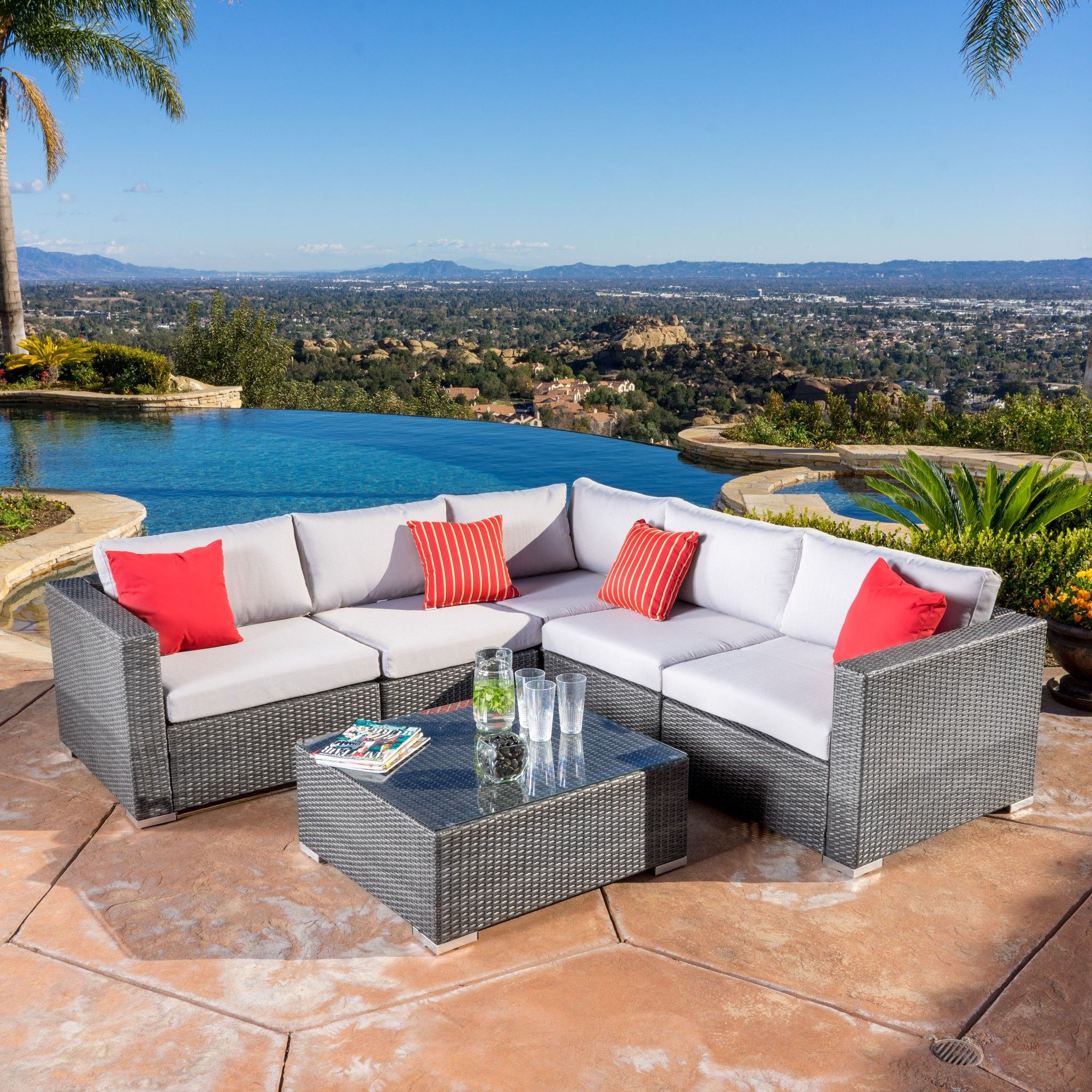 christopher knight home puerta grey outdoor wicker sofa set. Francisco Outdoor 6-piece Grey Wicker Seating Sectional Set With Cushions - . Buy Now Christopher Knight Home Puerta Sofa B