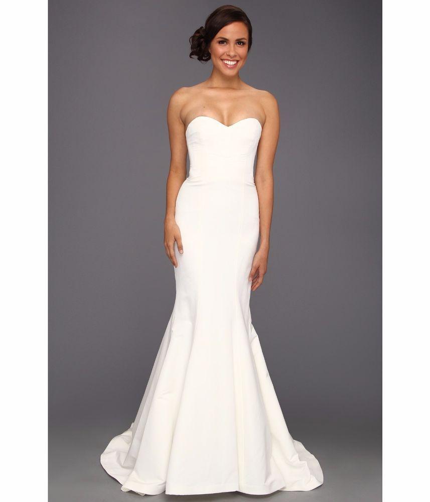 Antique cream wedding dress  Nicole Miller Dakota Silk Faille Strapless Gown Wedding Dress