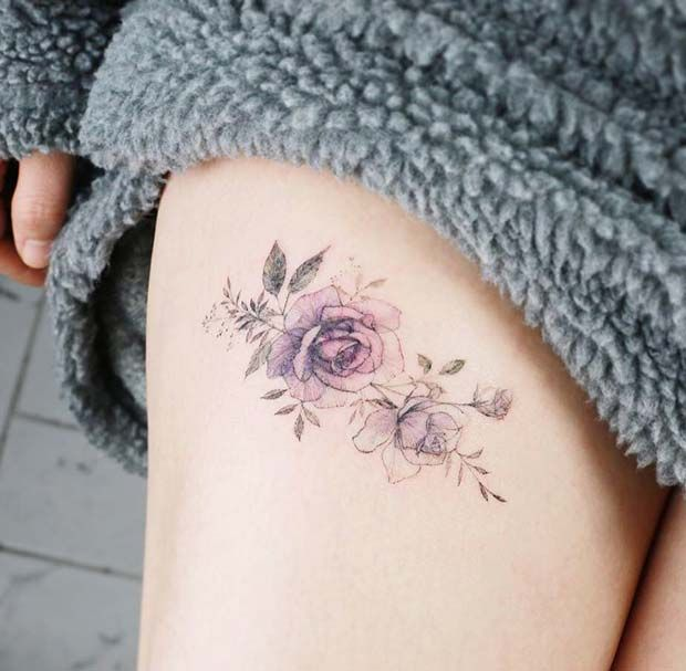 Photo of 23 Best Rose Thigh Tattoo Ideas for Women | StayGlam