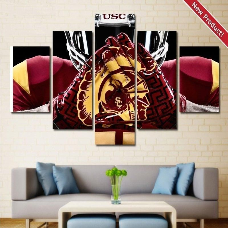 USC Trojans Football Wall Art | Canvas Framed Decor – Size 3 – 40 x 80 Inch