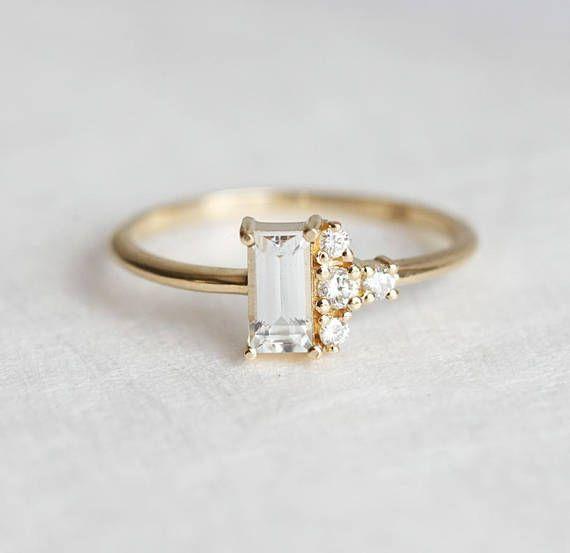 White Baguette Sapphire Ring Modern Diamond Cluster Ring Etsy Modern Engagement Rings Moonstone Engagement Ring Diamond Cluster Ring