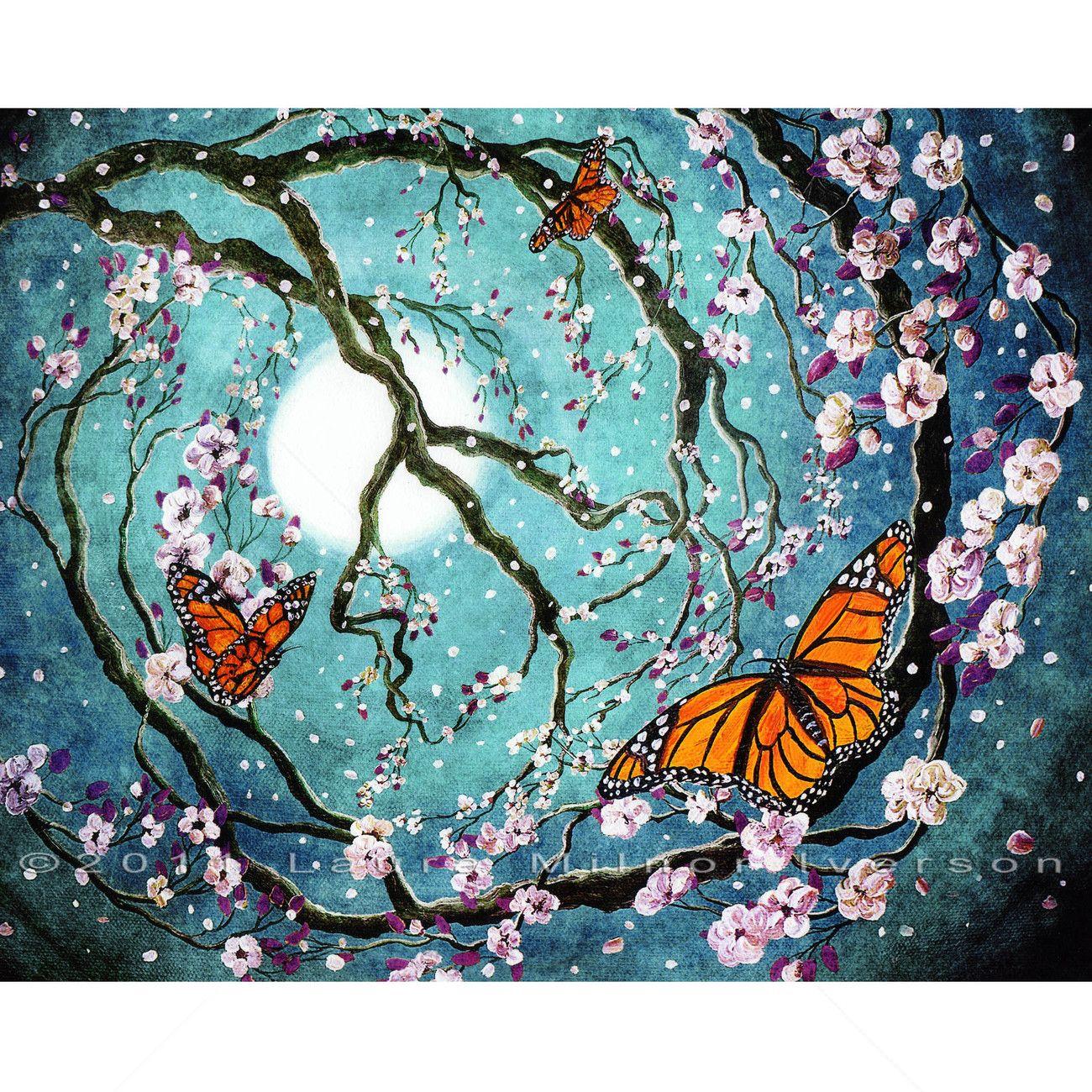 Monarch Butterflies Peace Sign Tree Sakura Cherry Blossoms ...