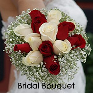 Red And Ivory Roses Baby S Breath Wedding Bouquets Centerpieces Boutonnieres