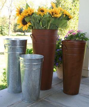 French Buckets Flower Market Bucket Galvanized Florist Pail Flower Bucket French Flowers Fall Front Porch Decor