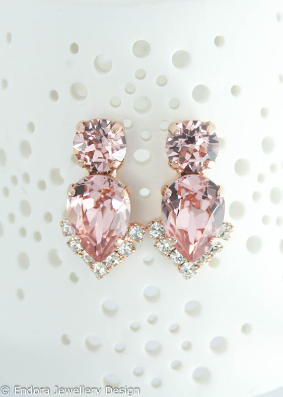 c9ea5175987db Blush earrings| Blush rose gold bridal earrings| Blush wedding ...