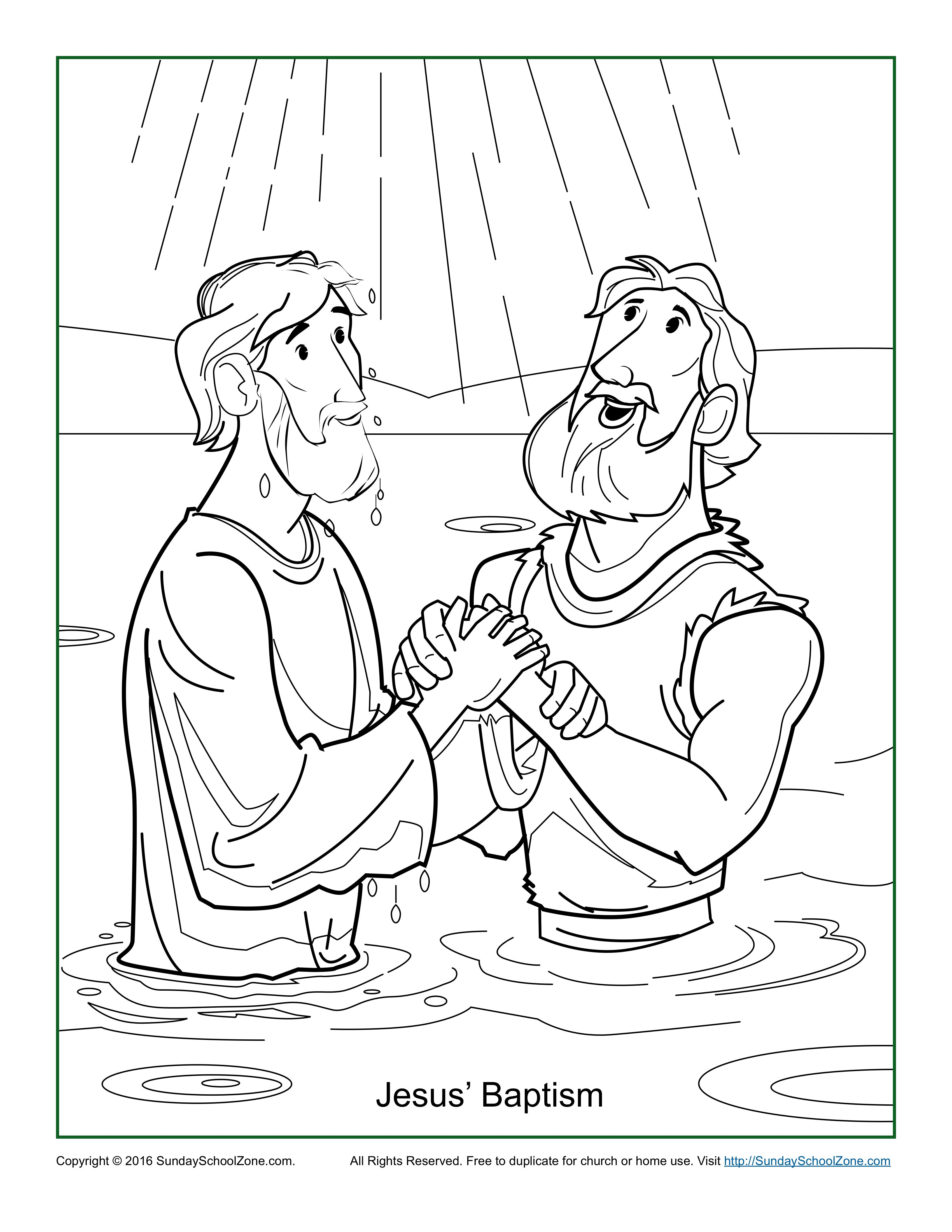 jesus baptism coloring page - Baptism Coloring Pages Printables
