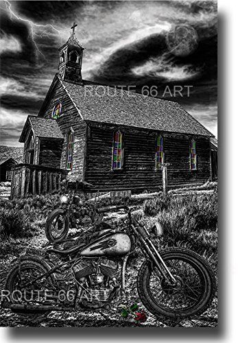 HARLEY DAVIDSON PANHEAD CHOPPER MOTORCYCLE VINTAGE ROUTE 66 STURGIS BIKER ART