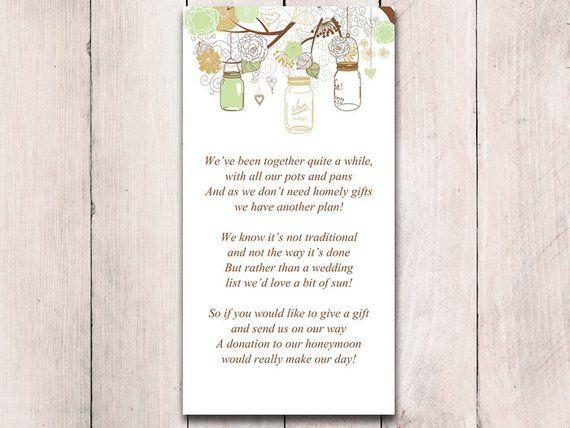 mason jar wedding honeymoon fund card template rustic wedding