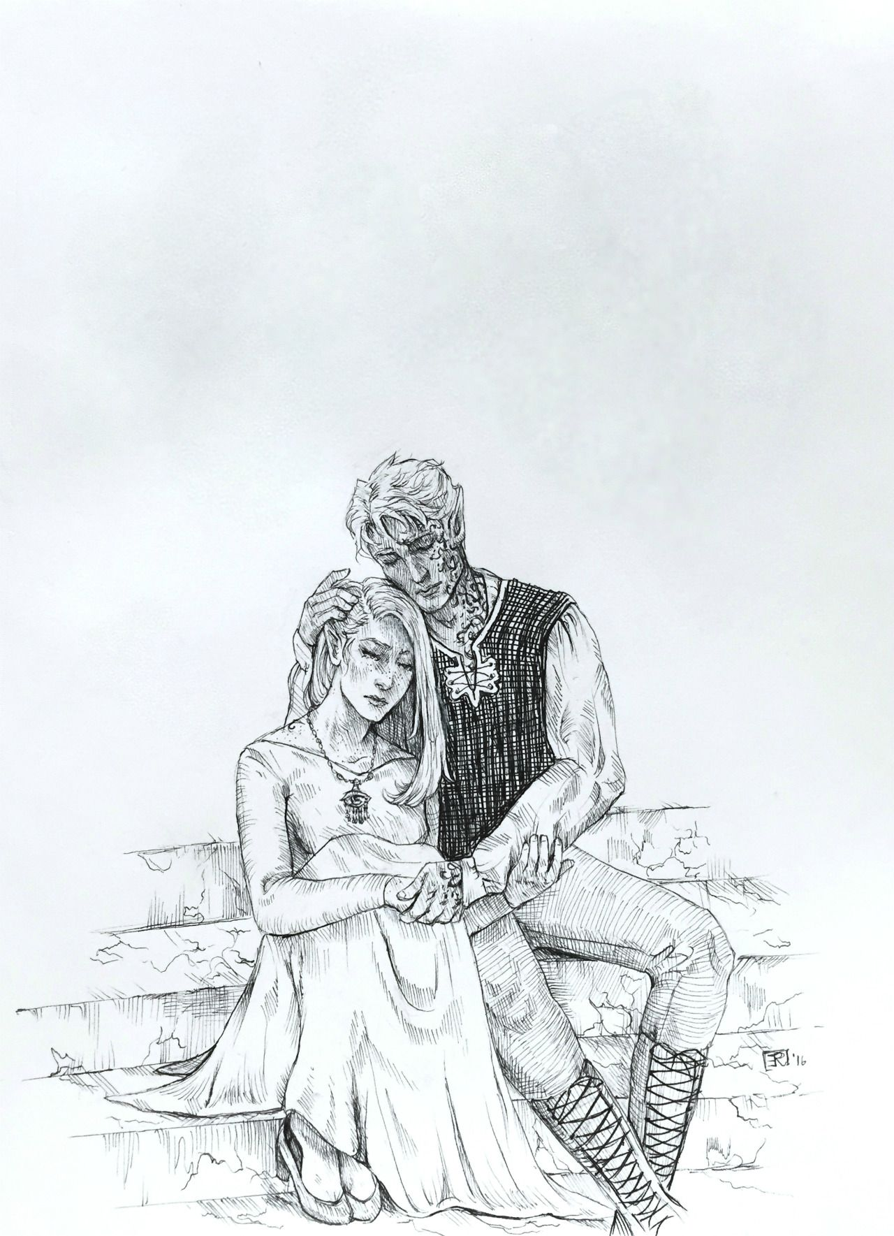 """lizthefangirl: """" Aelin and Rowan, in no scene in particular from any book, drawn in ink. Just comforting one another. No spoilers please! """""""