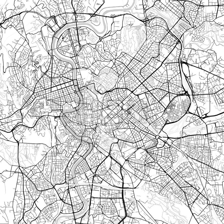 Rome, Lazio, downtown map, light   Maps Vector Downloads   Map ... on