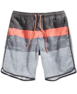 Neff Men's Ripped Stripe Hot Tub Trunks  - Gray S