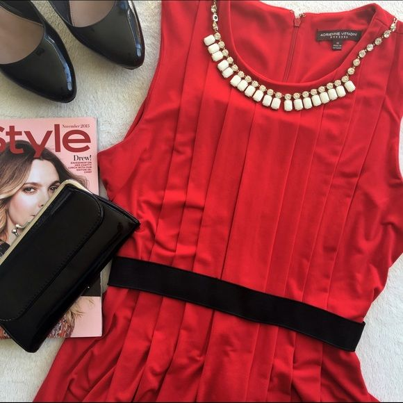 """Sleeveless belted dress Beautiful Dress, Zipper in back with elastic waist, Length 34"""", no stains, rip, smells . Adrienne Vittadini Dresses Midi"""