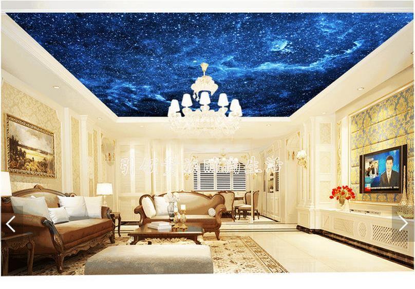 3d Photo Papier Peint 3d Plafond Peintures Murales Papier Peint Ciel Bleu Nuit Reve Salon Plafond Peintures Mural Ceiling Murals Mural Wallpaper Room Wallpaper