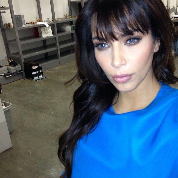 Kim Kardashian Wearing Stunning Blue Contacts Dressed In Her Cute
