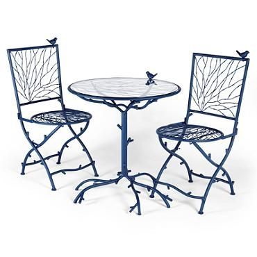 Birdie And Twigs Patio Set Grandin Road Bird Bistro Set Of Two Folding Chairs And Table Traditional Patio Furniture Bistro Furniture Bistro Table Outdoor